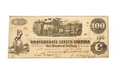 Una banconota confederata $100 dal 1862 fotografia stock libera da diritti
