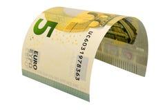 Una banconota da cinque euro isolata su fondo bianco Fotografia Stock Libera da Diritti