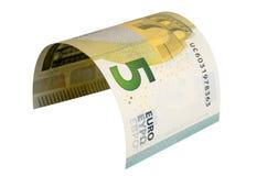 Una banconota da cinque euro isolata su fondo bianco Immagine Stock Libera da Diritti