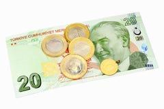 Una banconota da 20 Lire Fotografia Stock Libera da Diritti