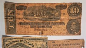 Una banconota di dieci dollari degli stati confederati fotografia stock libera da diritti