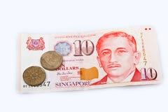 Una banconota di dieci dollari di Singapore Fotografia Stock Libera da Diritti