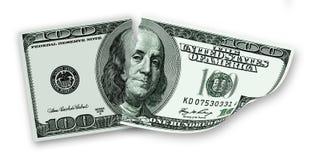 Una banconota lacerata di 100 dollari di U.S.A. Fotografie Stock Libere da Diritti