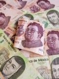una banconota messicana e un fondo di 500 pesi con le banconote messicane Fotografia Stock Libera da Diritti
