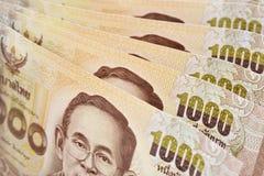 Una banconota tailandese di un fondo da 1000 baht Fotografia Stock