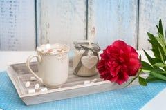 Una bandeja con el chocolate heated, el azúcar y la peonía roja Fotografía de archivo