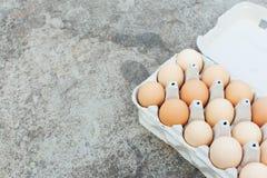 Una bandeja del papel con los huevos del pollo miente en una tabla concreta Espacio abierto para su texto, luz del día Imagen de archivo libre de regalías