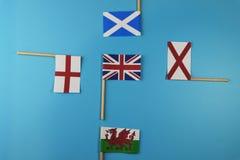 Una bandera de Reino Unido y sus miembros como Escocia, Inglaterra, Irlanda del Norte, País de Gales Fotos de archivo libres de regalías