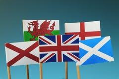 Una bandera de Reino Unido y sus miembros como Escocia, Inglaterra, Irlanda del Norte, País de Gales Fotografía de archivo