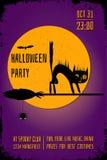 Una bandera del partido de Halloween con un gato negro en la escoba de bruja en fondo púrpura Plantilla Editable del diseño del c ilustración del vector