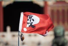 Una bandiera nella Città proibita Fotografie Stock Libere da Diritti