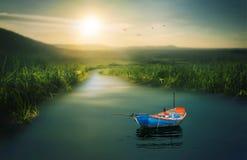 Una barca del ` s dell'uomo del pescatore messa in bacino Fotografia Stock Libera da Diritti
