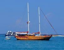 Una barca privata in Maldive Fotografia Stock