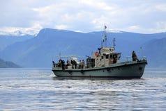 Una barca turistica sul lago Teletskoye, montagne di Altai, Russia Immagini Stock Libere da Diritti