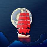 Una barca a vela nella luce della luna illustrazione di stock