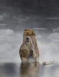 Una barca vicino alla roccia illustrazione di stock