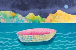 Una barca vuota va alla deriva nel lago di notte Fotografia Stock Libera da Diritti