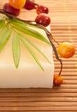 Una barra hecha en casa de aceite de oliva del jabón Fotos de archivo libres de regalías