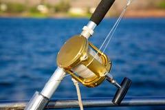 Una barra profunda y un carrete de la pesca en mar Fotografía de archivo