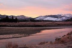 Una bella alba nel parco nazionale di Yellowstone Fotografia Stock Libera da Diritti