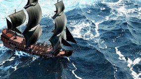 Una bella barca a vela nell'oceano aperto rappresentazione 3d Fotografie Stock