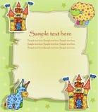 Una bella carta con un castello e gli animali Immagini Stock Libere da Diritti