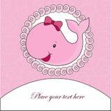 Una bella carta con una balena rosa Fotografia Stock Libera da Diritti