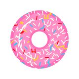 Una bella ciambella rosa con i lamponi e le caramelle Alimento dolce per le ragazze Progettazione per l'autoadesivo, sito Web Cot fotografie stock libere da diritti