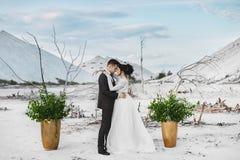 Una bella coppia abbracciante degli amanti al deserto bianco, di una giovane donna con l'acconciatura di nozze e dei gioielli di  fotografie stock