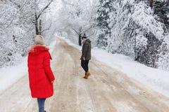 Una bella coppia della famiglia che cammina su una strada nevosa nel legno fotografia stock libera da diritti