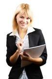 Una bella donna con un taccuino e una matita Immagini Stock