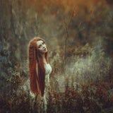 Una bella giovane donna con capelli rossi molto lunghi come strega cammina attraverso la foresta di autunno immagini stock