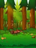 Una bella giungla verde in tensione con i lotti degli alberi e delle piante royalty illustrazione gratis