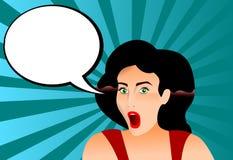 Una bella illustrazione d'annata di una ragazza 50 dal ` s con l'espressione della sorpresa Illustrazione di Stock