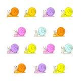 Una bella illustrazione delle lumache colorate Illustrazione di Stock
