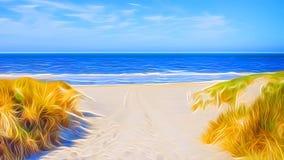 Una bella illustrazione grafica tranquilla di una lacuna nelle dune di sabbia che conducono alla spiaggia sabbiosa fotografia stock libera da diritti