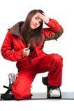 Una bella ragazza con lo snowboard Immagine Stock Libera da Diritti