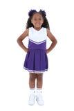 Una bella ragazza pon pon di sei anni sopra bianco Fotografia Stock Libera da Diritti