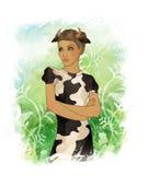 Una bella ragazza vestita come bue Illustrazione di Stock