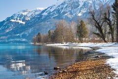Una bella riflessione del lago delle alpi sulla riva, Interlaken, interruttore Fotografie Stock