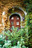 Una bella scatola coperta di foglie Architettura, progettazione immagini stock