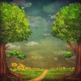 Una bella scena del terreno boscoso con gli alberi Immagini Stock Libere da Diritti