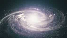 Una bella scena dello spazio con una galassia girante stock footage