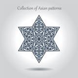 Una bella stella esagonale con i modelli asiatici dentro Un separato Fotografia Stock Libera da Diritti
