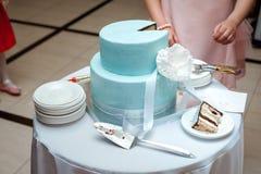 Una bella torta nunziale blu sta taglianda dalle persone appena sposate Immagini Stock