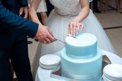 Una bella torta nunziale blu sta taglianda dalle persone appena sposate Immagini Stock Libere da Diritti