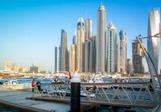 Una bella vista del porticciolo del Dubai fotografia stock