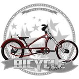 Una bicicleta de cierto tipo, en un fondo simbólico Foto de archivo libre de regalías