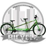 Una bicicleta de cierto tipo, en un fondo simbólico ilustración del vector