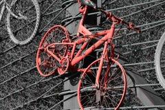 Una bicicleta roja olvidada vieja fotos de archivo libres de regalías
